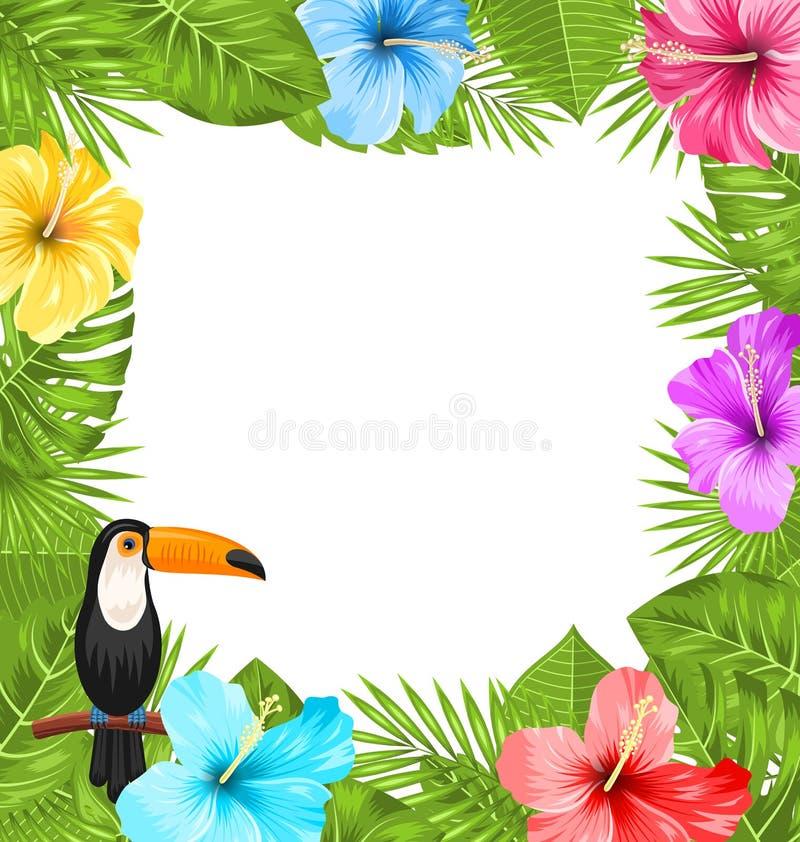 La struttura esotica della giungla con l'uccello del tucano, ibisco variopinto fiorisce il fiore royalty illustrazione gratis