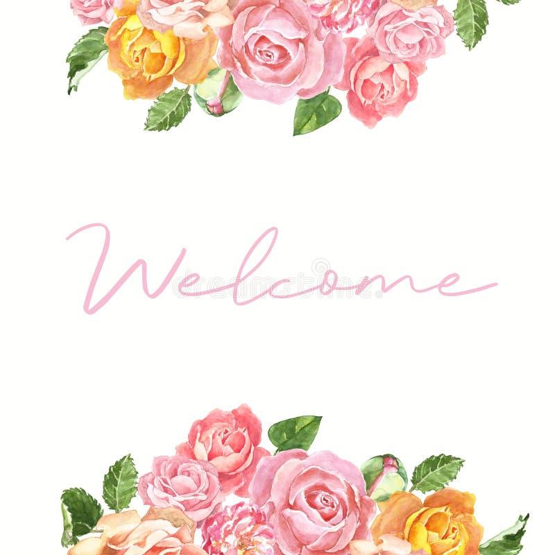 La struttura floreale dell'acquerello per gli inviti di nozze e le carte con arrossiscono rose rosa ed arancio e foglie verdi, is illustrazione vettoriale