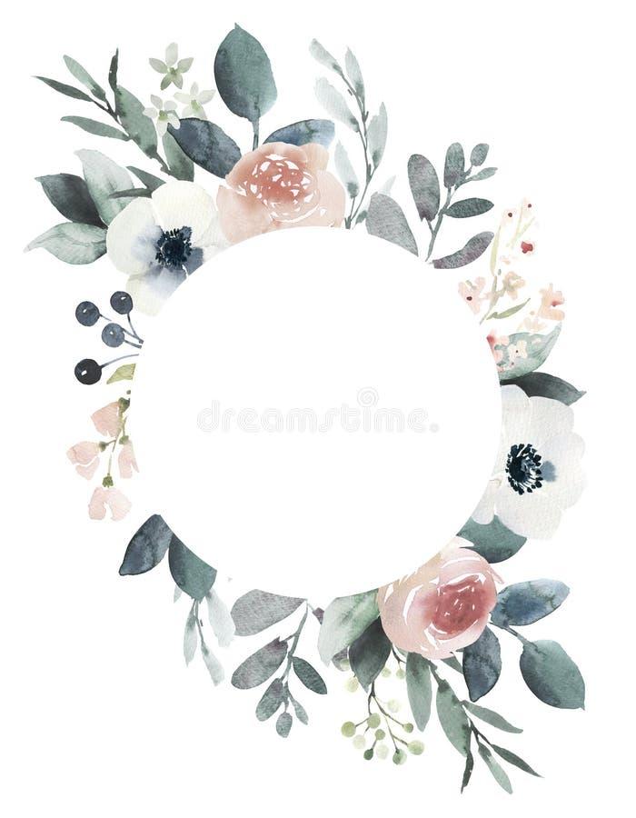 La struttura floreale di nozze dell'acquerello con arrossisce rose e royalty illustrazione gratis