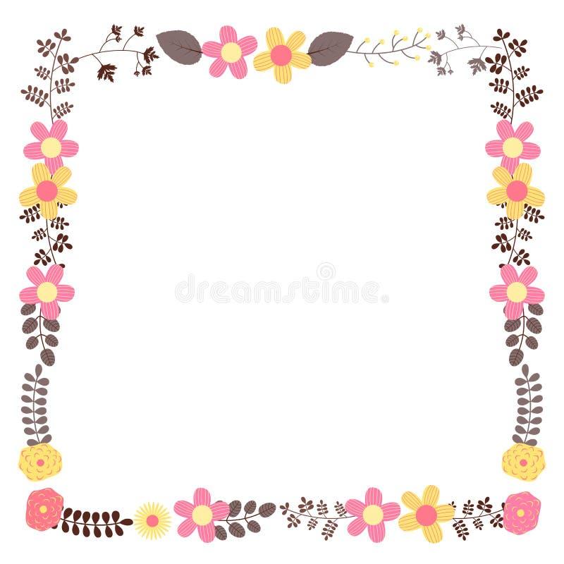 La struttura floreale di vettore quadrato per nozze invita illustrazione vettoriale