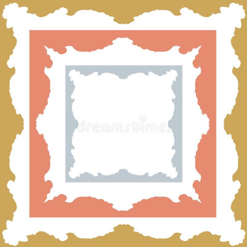 La struttura a forma di simmetrica e quadrata d'argento e bronzea dell'oro, progetta illustrazione vettoriale