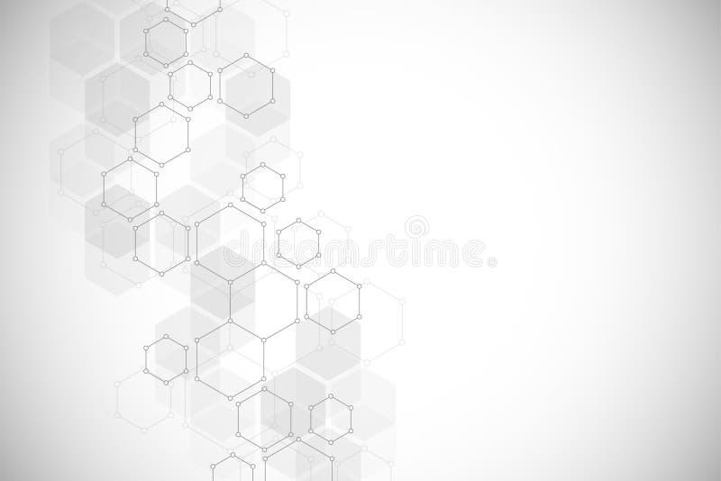 La struttura molecolare esagonale per medico, la scienza e la tecnologia digitale progettano Fondo geometrico astratto di vettore illustrazione vettoriale