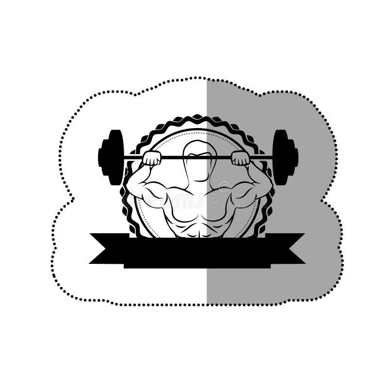 la struttura nera dell'autoadesivo di contorno con l'uomo del muscolo che solleva un disco pesa ed etichetta illustrazione di stock
