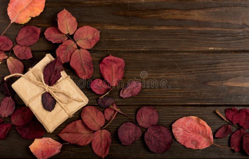 La struttura piana di disposizione di cremisi di autunno va e dei contenitori di regalo su un buio immagine stock