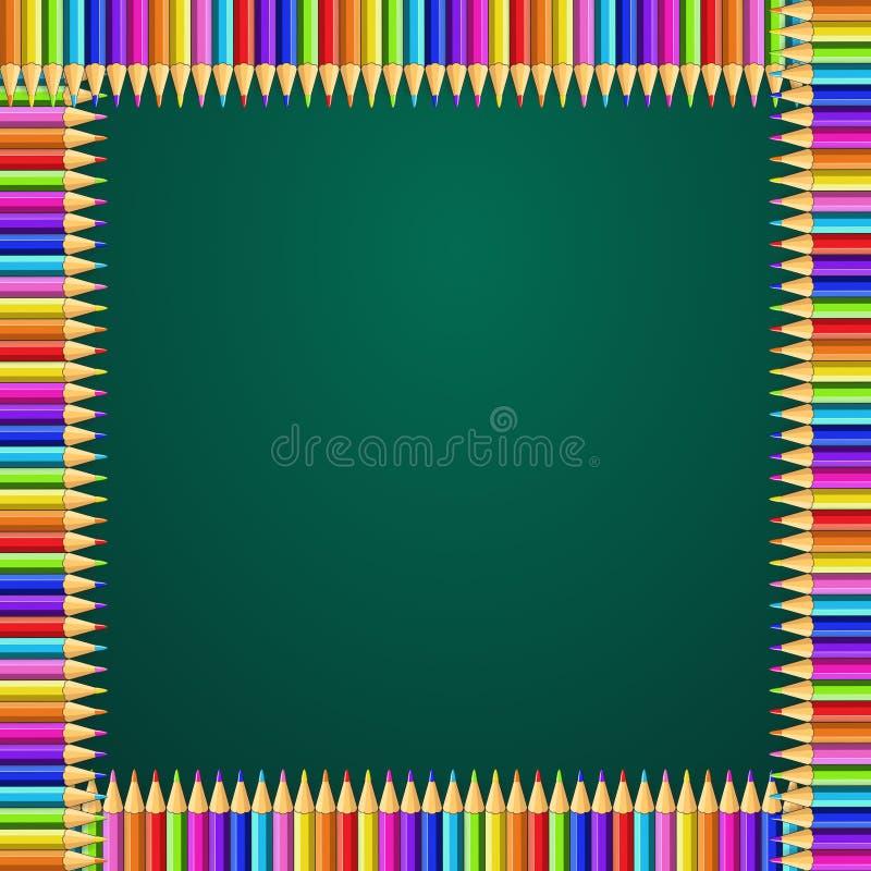 La struttura quadrata fatta dell'arcobaleno variopinto disegna a matita sul fondo verde della lavagna illustrazione vettoriale