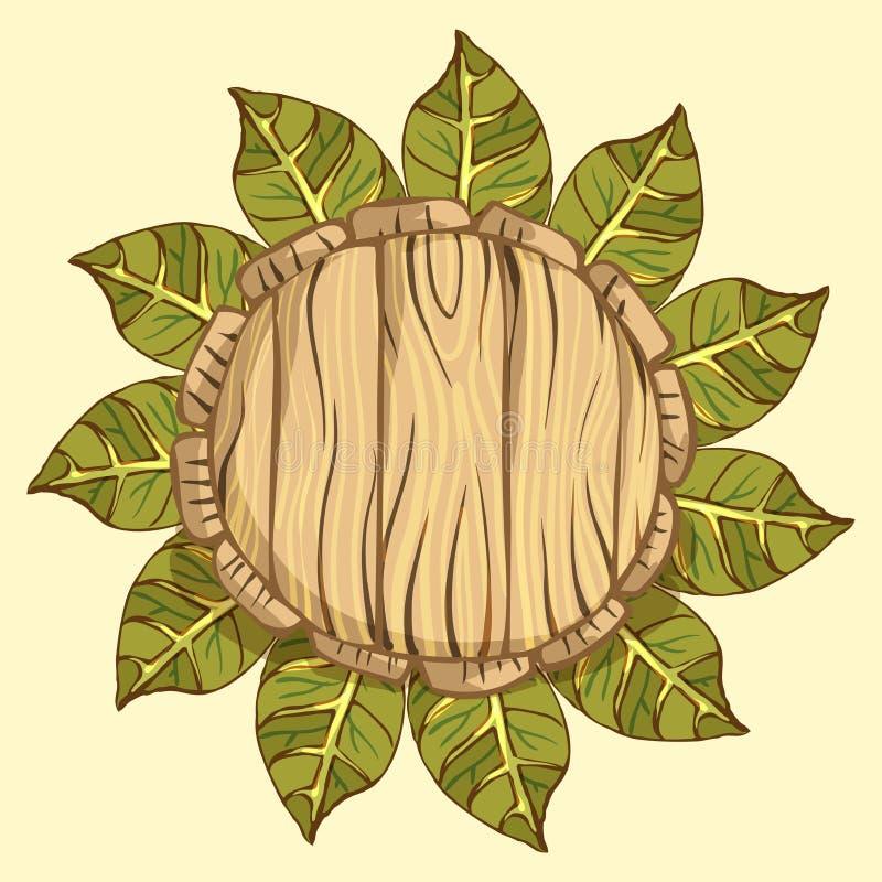 La struttura rotonda, corona della betulla va su fondo neutrale Posto per il vostro testo Illustrazione di vettore nello stile di illustrazione di stock