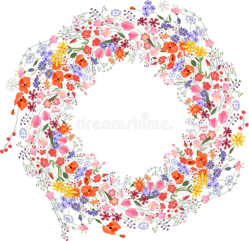 La struttura rotonda d'annata con il campo di contorno fiorisce sopra illustrazione vettoriale
