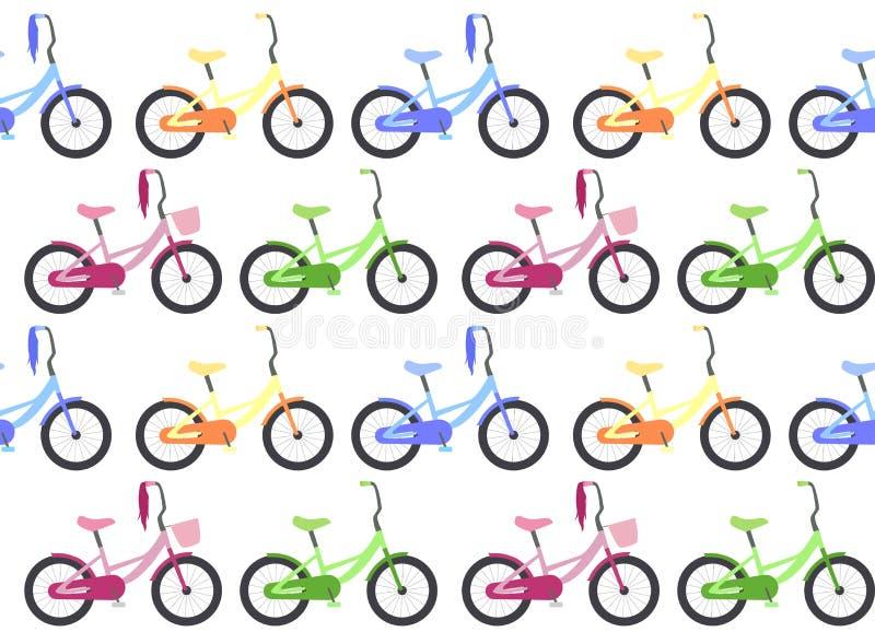 La struttura senza cuciture con il ` s dei bambini va in bicicletta in una fila illustrazione vettoriale