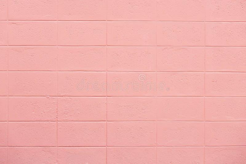 La struttura vuota del muro di mattoni ha dipinto il pastello rosa immagine stock libera da diritti