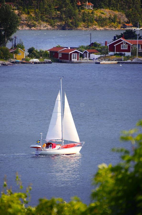 La Suède et le bateau à voile photos libres de droits