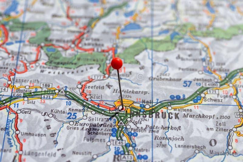 La Suède Stockholm, le 7 avril 2018 : Villes européennes sur des séries de carte Plan rapproché d'Innsbruck image libre de droits