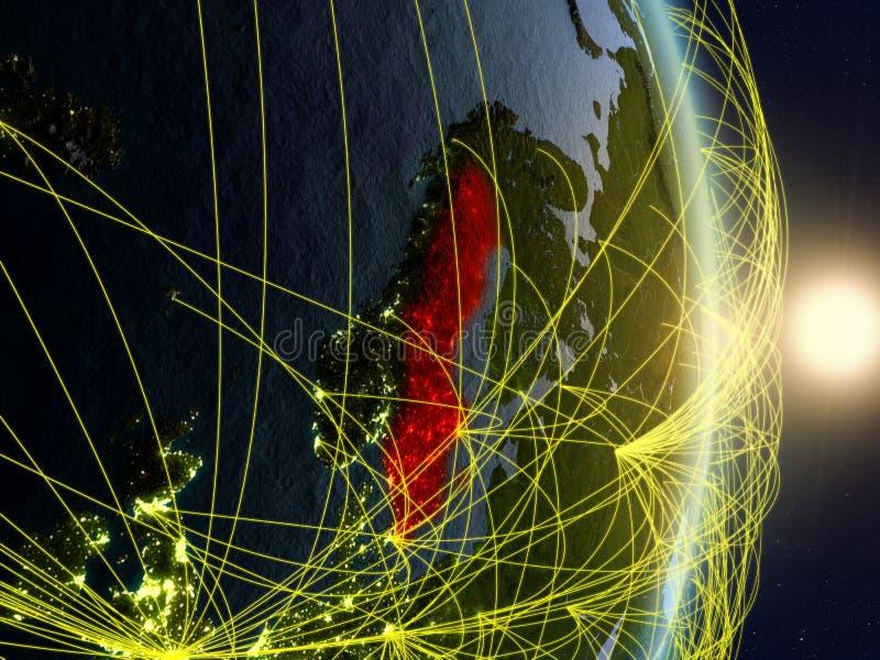 La Suède sur la terre reliée au réseau de planète images stock