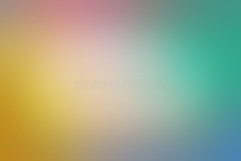 La suavidad empañó diseño del fondo con verde azul y color oro rosado amarillo y textura borrosa lisa ilustración del vector