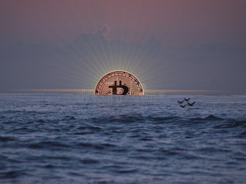 La subida de Bitcoin fotos de archivo libres de regalías