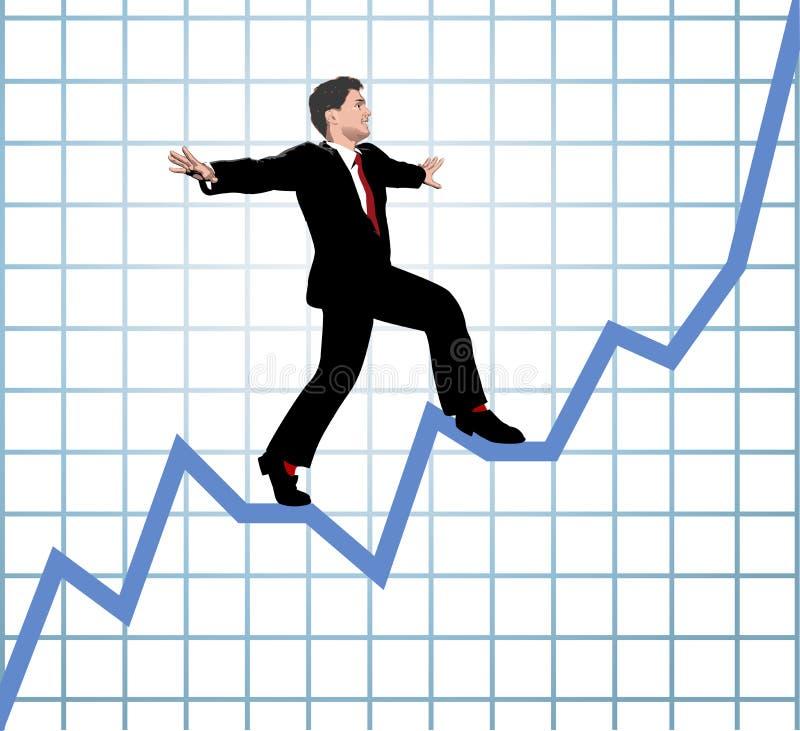 La subida del empresario comienza para arriba la carta ilustración del vector