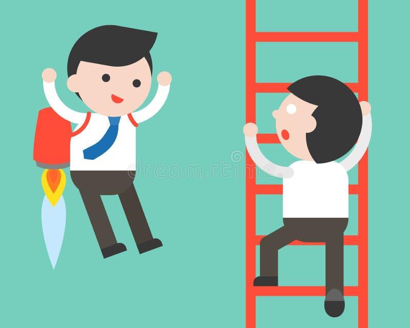 La subida del hombre de negocios una escalera y un vuelo del hombre de negocios con el jet embala, stock de ilustración