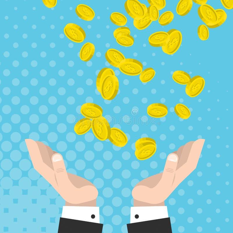 La suerte financiera, monedas de oro baja en las manos aumentadas ilustración del vector