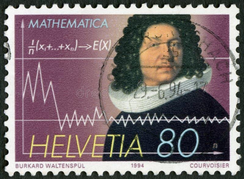 La SUISSE - 1994 : expositions Jakob Bernoulli (1654-1705), mathématicien photographie stock