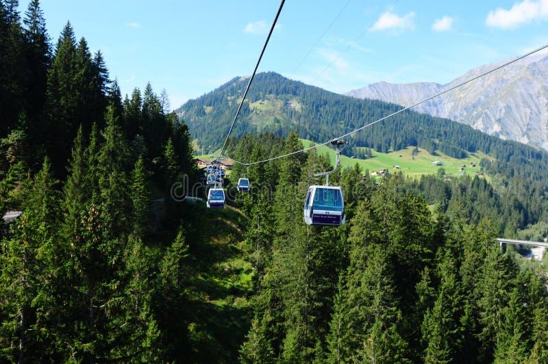 La Suisse : Funiculaire de Silleren, Adelboden, Bernese Oberland images libres de droits