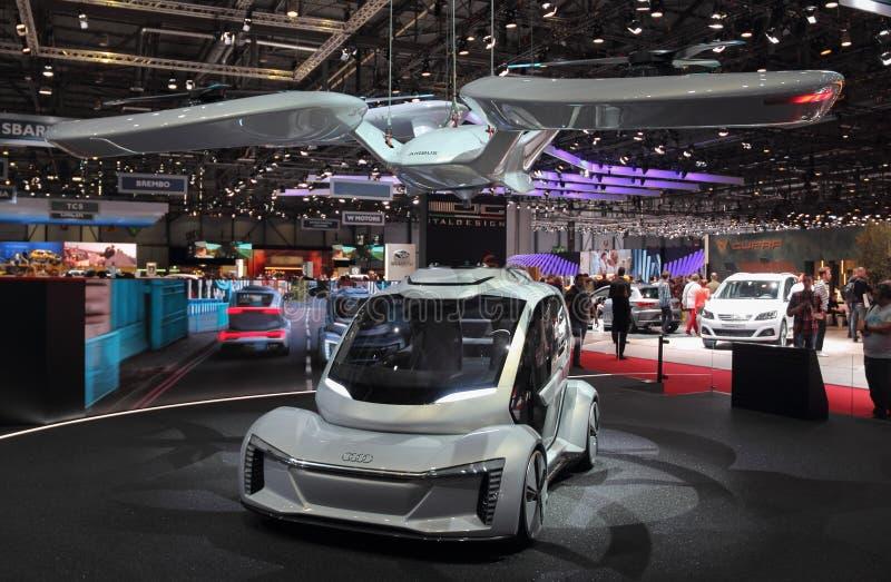 La Suisse ; Genève ; Le 8 mars 2018 ; Audi Pop vers le haut de prochains WI de voiture photos libres de droits