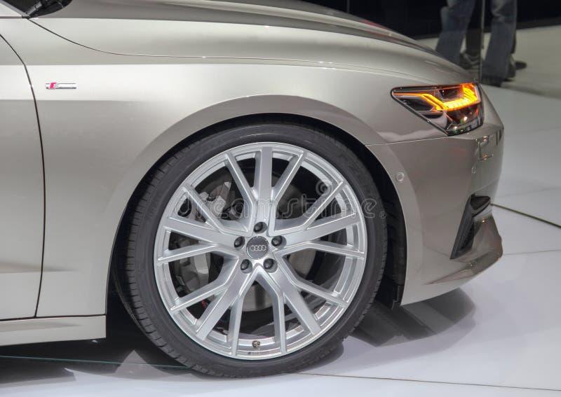 La Suisse ; Genève ; Le 8 mars 2018 ; L'avant de quattro d'Audi A7 55 TFSI ; Le quatre-vingt-dix-huitième Salon de l'Automobile i image libre de droits