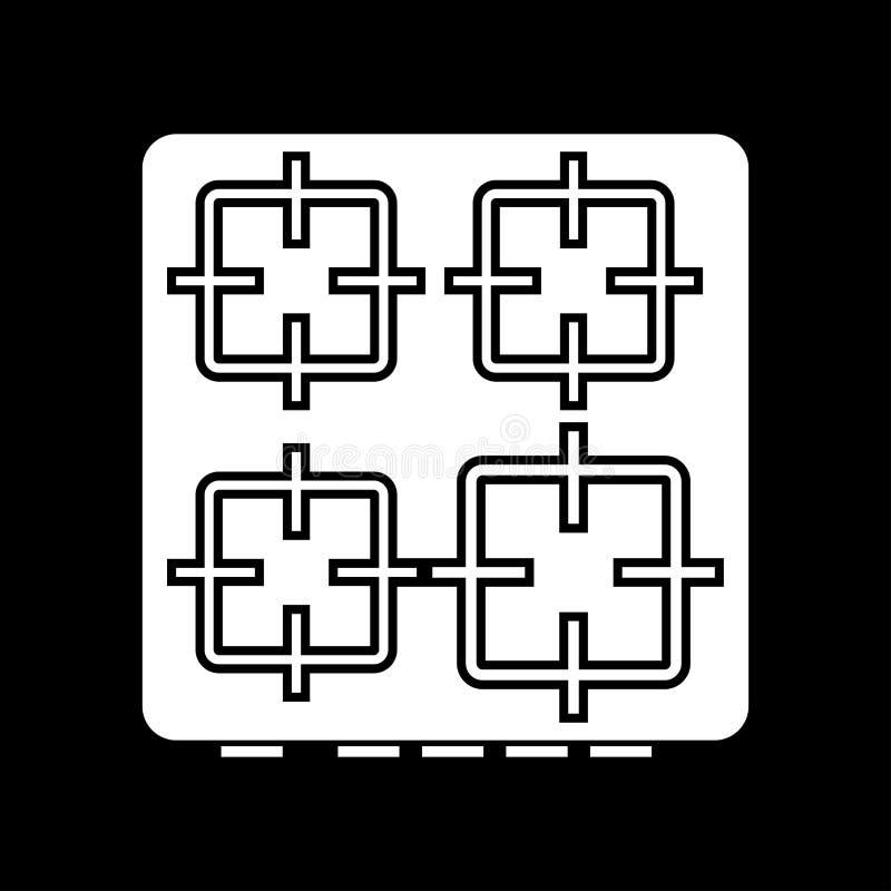 La superficie del fornello è icona illustrazione vettoriale