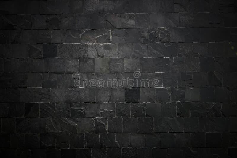La superficie nera della parete usa molti mattoni O vecchio modello nero dell'estratto del muro di mattoni Fondo meravigliosament immagini stock libere da diritti