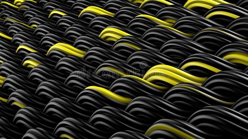 La superficie ondulada del extracto negro y amarillo 3D del ornamento de los curles ren ilustración del vector