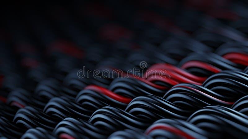 La superficie ondulada del extracto negro y rojo 3D del ornamento de los curles rinde libre illustration