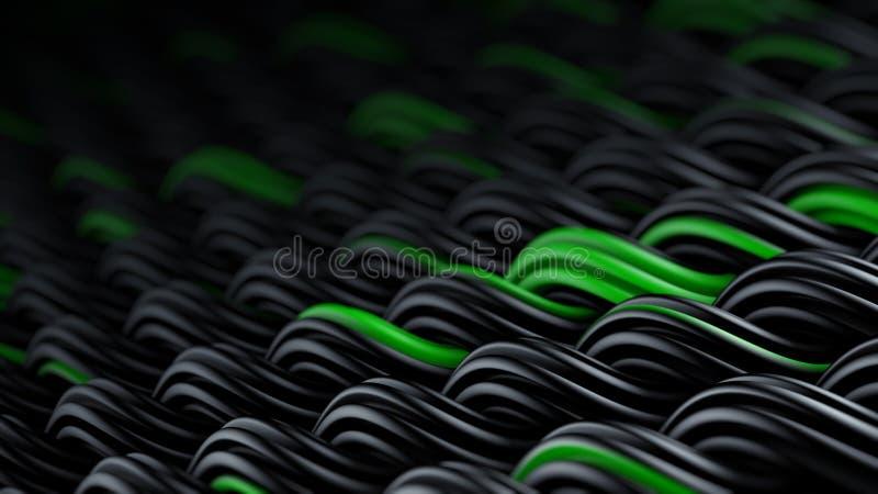 La superficie ondulada del extracto negro y verde 3D del ornamento de los curles arranca libre illustration