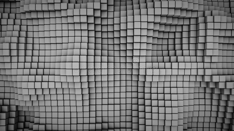 La superficie ondulada del gris cubica la representación abstracta 3D ilustración del vector