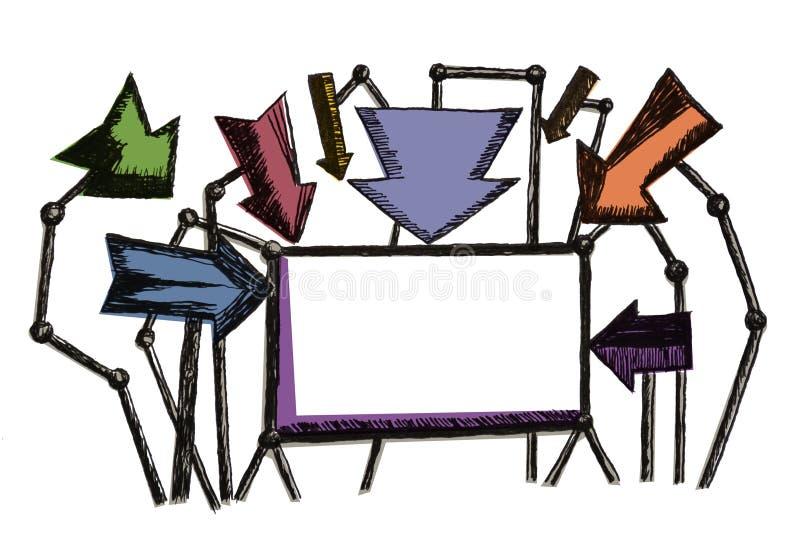 La suposición colorida de la publicidad de la nota del escudo de las flechas pintó libre illustration