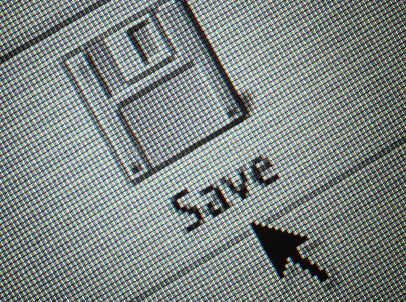 La surface adjacente le bouton de sauvegarde et une souris c de flèche photos stock