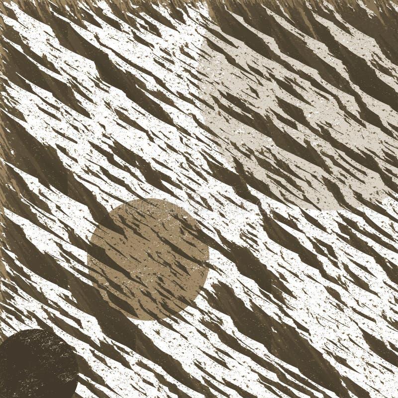 La surface brune blanche lumineuse d'une planète rocheuse avec le contraste graphique entoure illustration stock