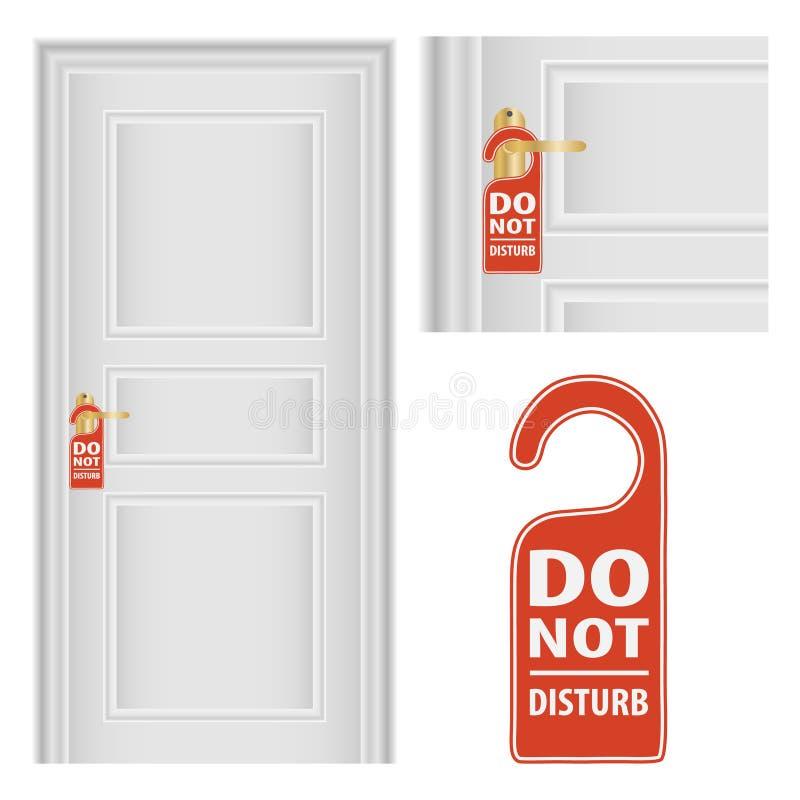 La suspensión de puerta marca con etiqueta para el sitio en hotel o centro turístico Cerradura del tirador de puerta del metal de libre illustration