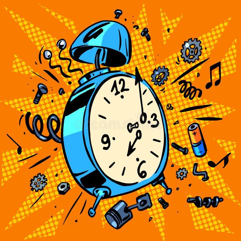 La sveglia di mattina suona il tempo di svegliare illustrazione di stock