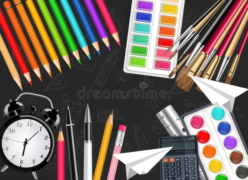 La sveglia e gli strumenti di disegno Vector la vista superiore realistica Spazzola, tavolozza dell'acquerello, matite, pastelli  royalty illustrazione gratis