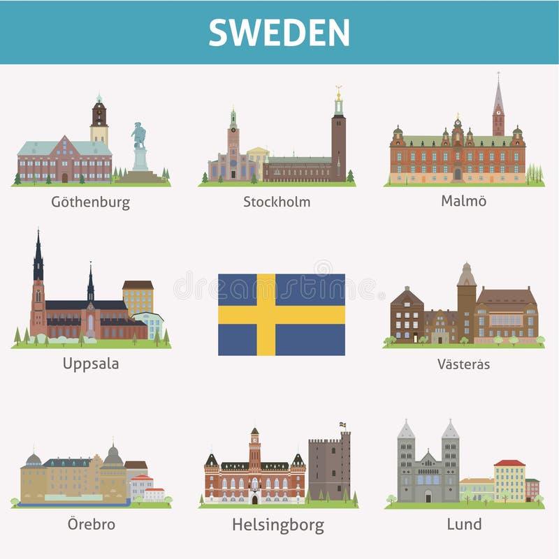 La Svezia. Simboli delle città royalty illustrazione gratis