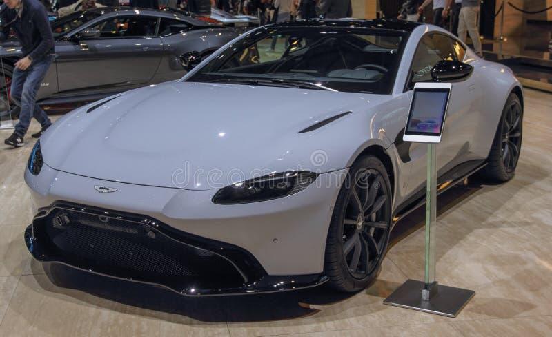 La Svizzera; Ginevra; 10 marzo 2019; Aston Matrin; L'ottantanovesimo salone dell'automobile internazionale a Ginevra dal settima  immagine stock libera da diritti