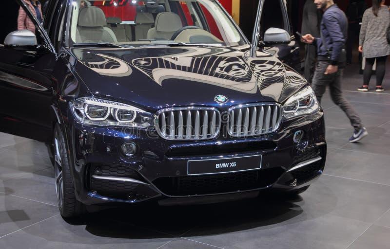 La Svizzera; Ginevra; 8 marzo 2018; BMW X5; l'ottantottesimo Interna fotografie stock libere da diritti