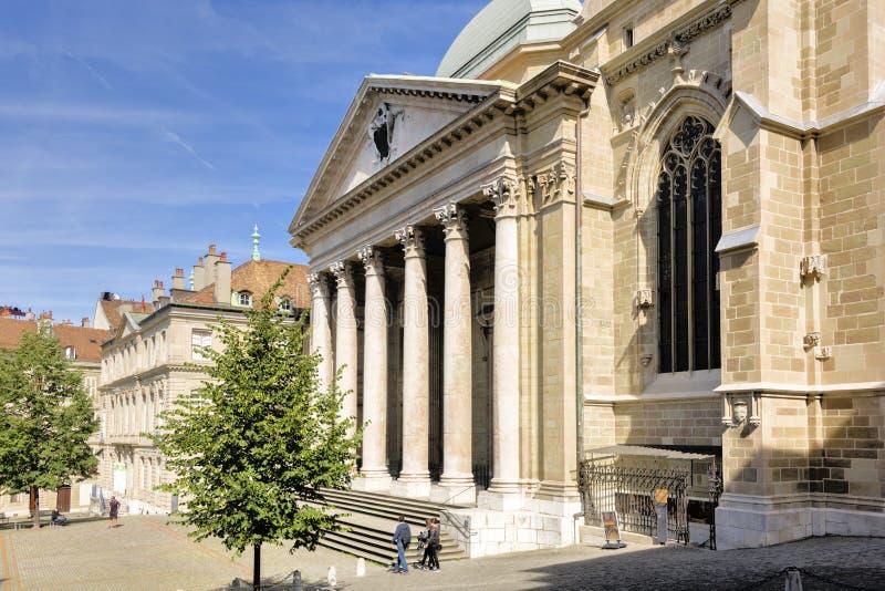 La Svizzera Ginevra la st Pierre Cathedral immagini stock libere da diritti