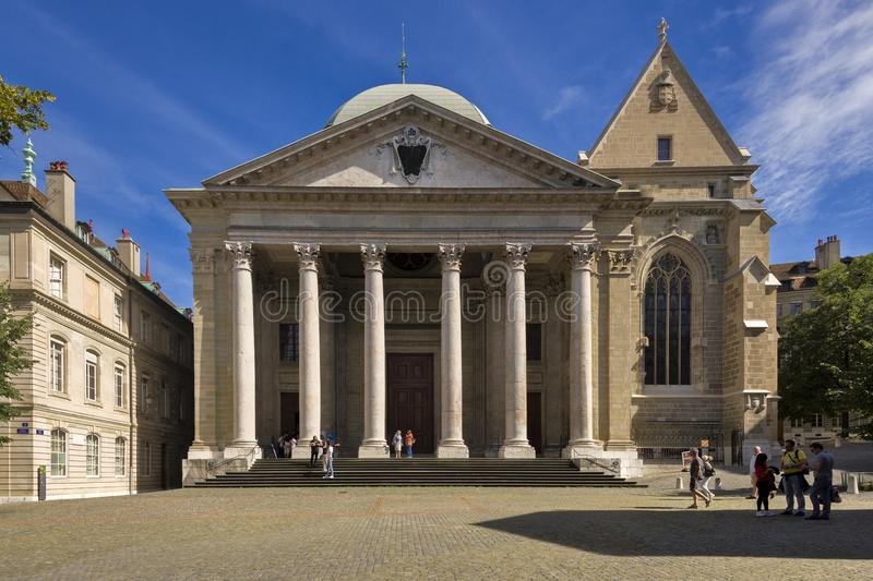 La Svizzera Ginevra la st Pierre Cathedral fotografia stock libera da diritti