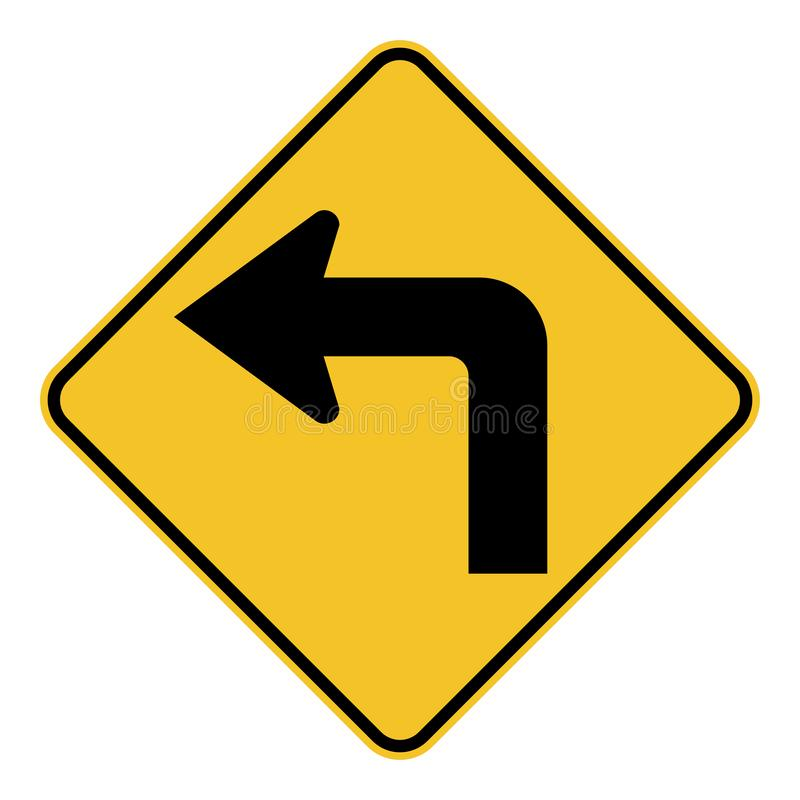 La svolta a sinistra avanti il segnale stradale fotografie stock