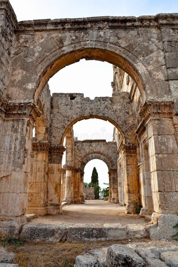 La Syrie - église de rue Simeon - Qal'a Sim'an photo stock