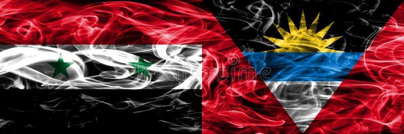 La Syrie contre des drapeaux de fumée de l'Antigua-et-Barbuda placés côte à côte Th illustration libre de droits