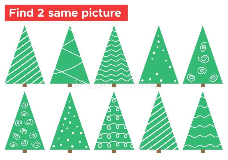 La tâche d'arbre de Noël de griffonnage, trouvent 2 la même photo illustration de vecteur
