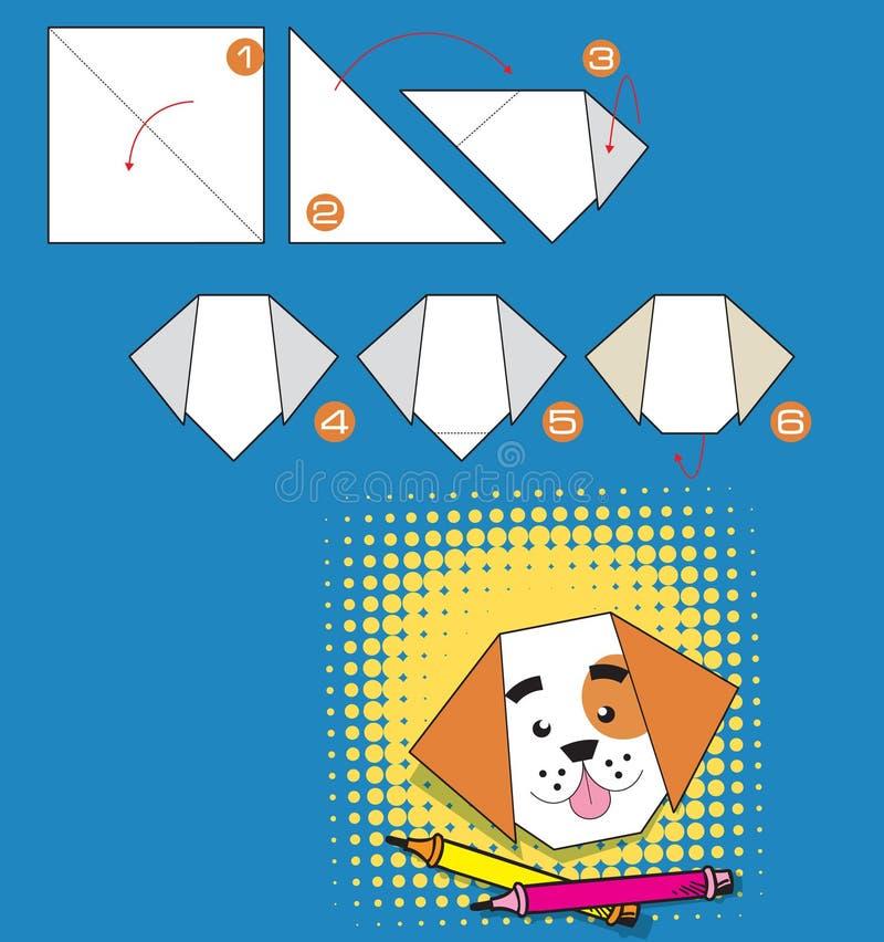 La tâche est de plier le chien d'origami illustration stock