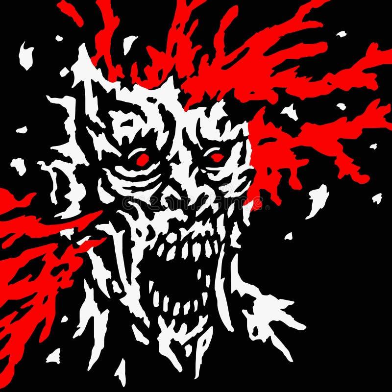 La tête éclatée de zombi avec éclabousse du sang et des éclats de crâne Illustration de vecteur illustration de vecteur