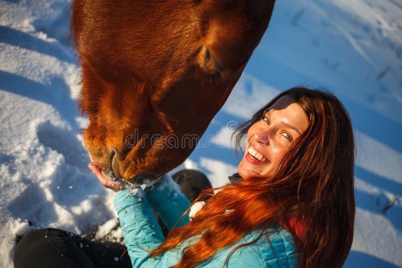 La tête d'un cheval et des mains d'une fille se ferment  Elle alimente le cheval rouge photographie stock libre de droits