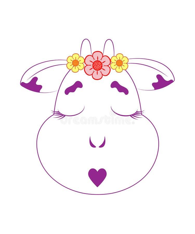 La tête d'une vache dans une guirlande illustration stock